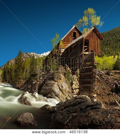 Crystal Mill, or Lost Horse Mill, is an old wooden power house which had a waterwheel that used to drive an air compressor for the nearby silver mines in the Colorado mountains