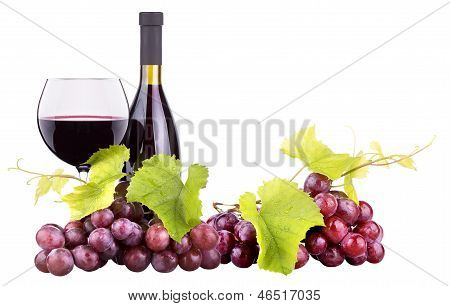 Ripe grapes wine glass and bottle of wine isolated on white poster