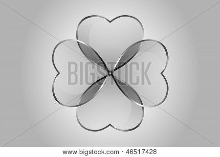 Vector Glossy Hearts Clover