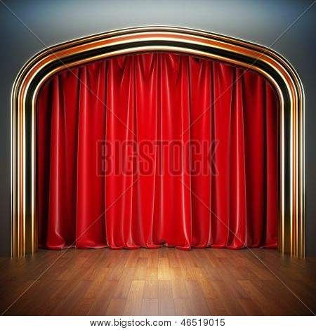 Empty stage. A 3d illustration blank template of theater scene with red velvet curtains.