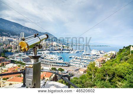 Monaco Montecarlo Principality Aerial View Cityscape. Azure Coast. France