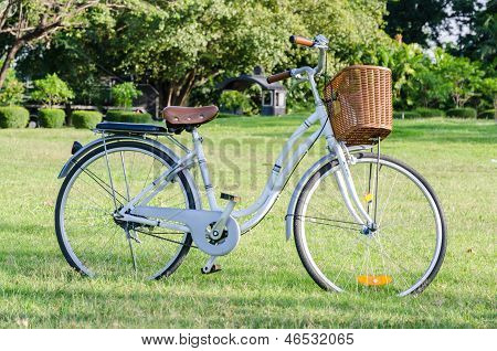 White Bicycle With Basket In The Park
