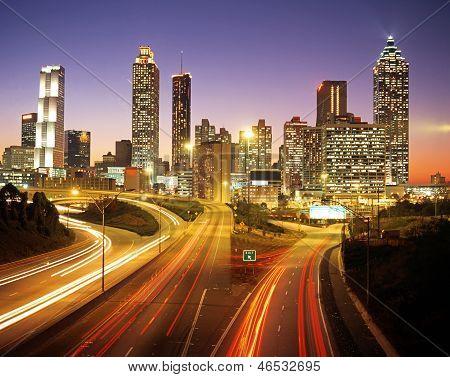 City skyline at dusk, Atlanta, USA.