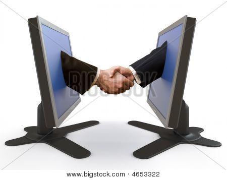 Apretón de manos entre pantallas Lcd
