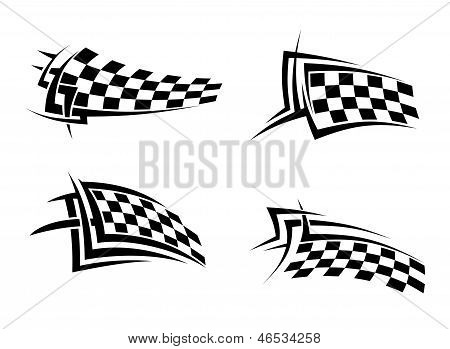 Tribal signs with checkered flags for sports or tattoo design poster