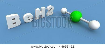 a 3d render of a beryllium hydride molecule poster