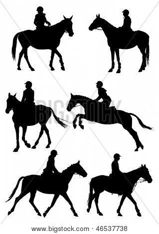 Six silhouettes of jockey riding race horse. Vector illustration.