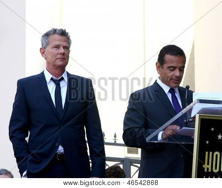 LOS ANGELES - MAY 31:  David Foster, Mayor Antonio Villaraigosa at the David Foster Hollywood Walk of Fame Star Ceremony at the Capital Records Building on May 31, 2013 in Los Angeles, CA