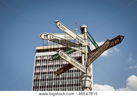 Signpost In Center Of Nis, Serbia