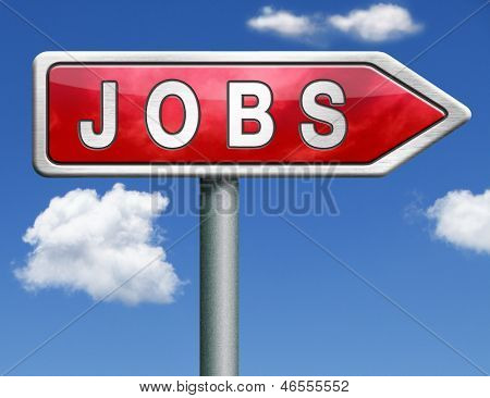 job search vacancy for jobs online job application help wanted hiring now job sign job button job ad advert advertising red road sign arrow with text and word concept