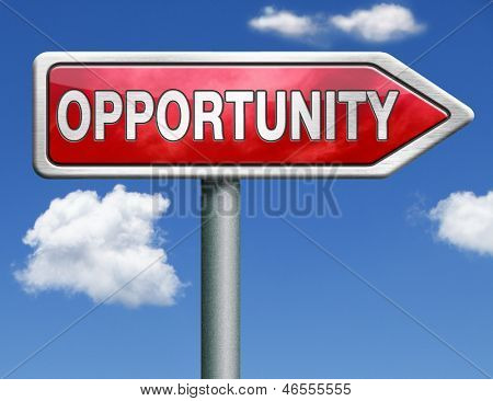opportunity concept chance to follow the road towards success button icon red road sign arrow with text and word concept