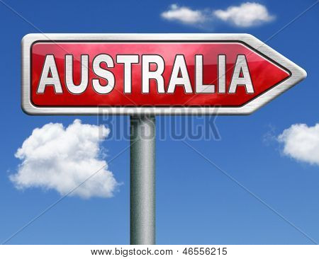 Australia down under continent tourism holiday vacation economy country road sign arrow