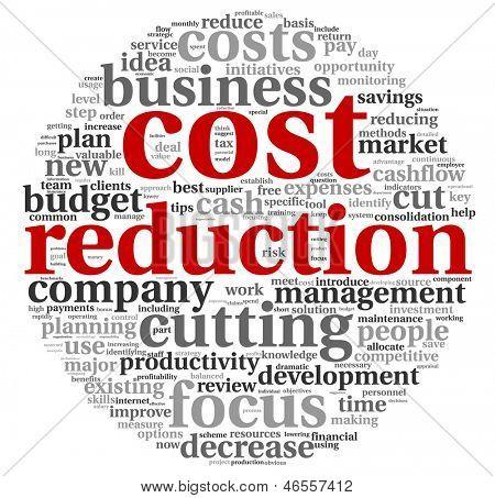Conceito de redução de custos na nuvem de Tags de palavra