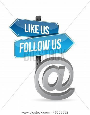 Like Us And Follow Us Online Sign Illustration