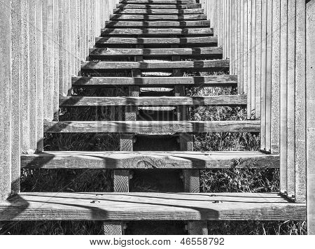 Ascending Wooden Stairs, Black & White
