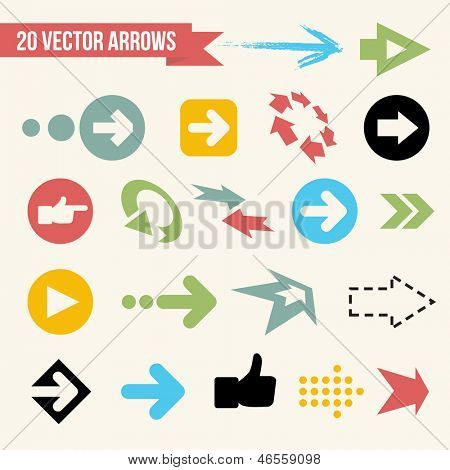 Collection of Vector Arrows. Web Design Icon Set. Retro Illustration.