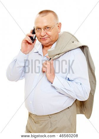 Confident senior businessman talking by cell phone. Isolated on white background, mask included