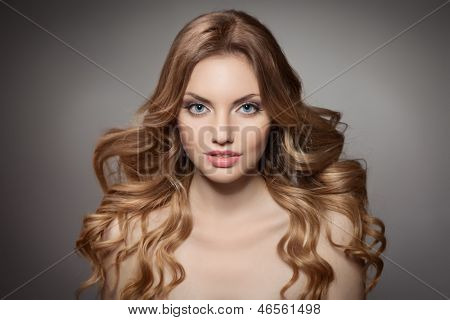 Beauty Portrait. Curly Long Hair poster