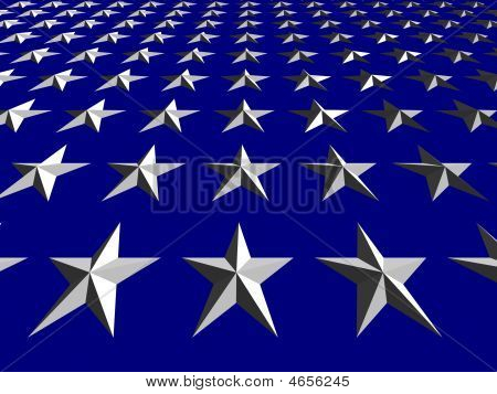 White Stars On Blue Background, Tilted