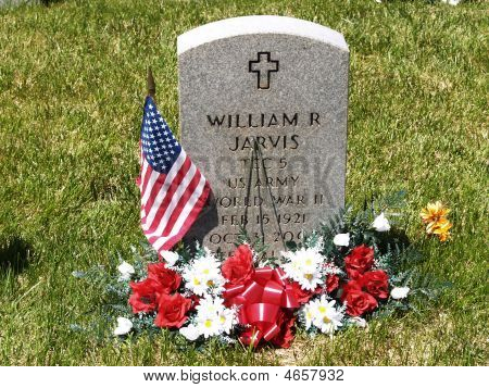 Fathers Headstone At Veterans Cemetery