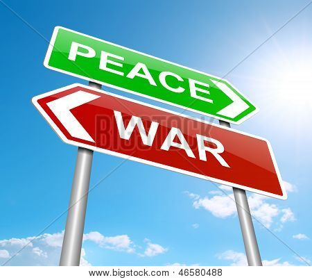 Illustration depicting a sign with a war or peace concept. poster