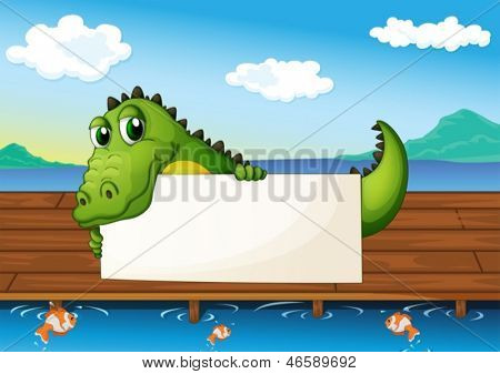 Illustration of an alligator holding an empty signboard at the lake with fish
