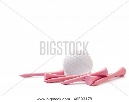 Golf Ball With Pink Tees Isolated On White Background