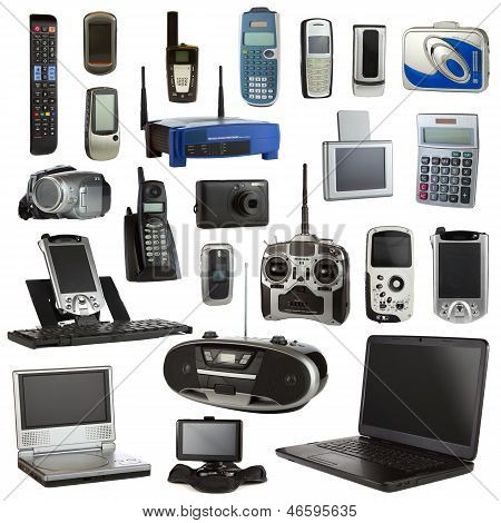 Technology collage isolated on a white background depicting electronic devices. poster