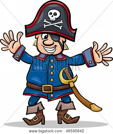 Cartoon Illustration of Funny Pirate or Corsair Captain with Eye Patch and Jolly Roger poster