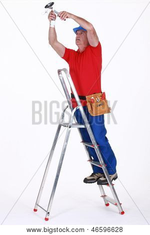 Electrician on a ladder