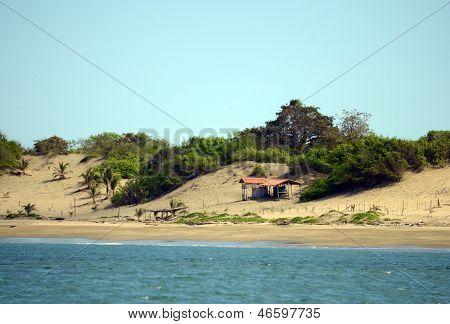 Beach Shack On Sand Dunes In Panama