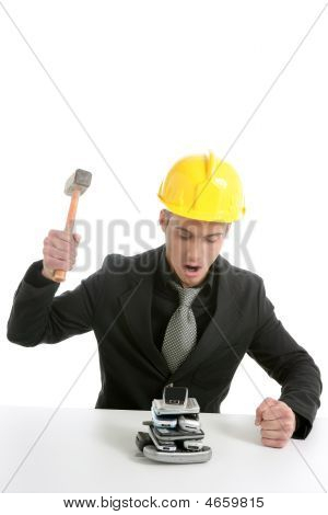Businessman Angry To Mobile Phones