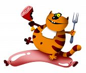 cartoon illustration of a smiling cat with meat and sausage (raster version with shadows) poster