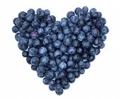 Blueberry heart shape symbol concept for healthy eating and lifestyle poster