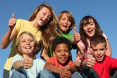 group of diverse kids or children with thumbs up poster