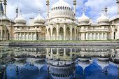 onion domes towers and minarets forming the roof of the royal pavilion palace in brighton england King George IV's summer house and Regency folly poster