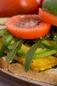 Fresh Tofu Veggie Sandwich. Vegan Burger with tofu and tomatoes poster