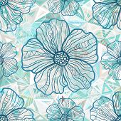 Ornate blue flowers on abstract triangles vector seamless pattern poster