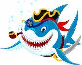 Great white shark with his pirate saber, hat and pipe poster