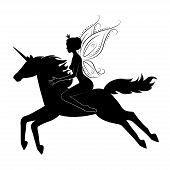 Silhouette of a beautiful fairy riding on magical unicorn.  Vector illustration isolated on white background. poster
