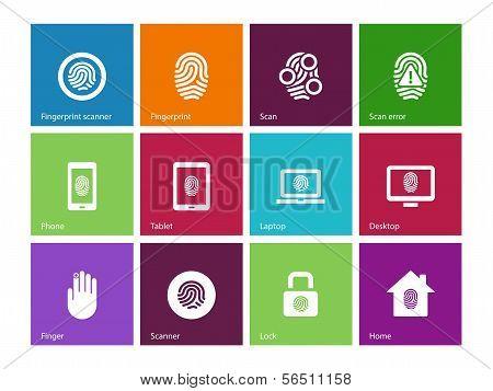 Fingerprint icons on color background.