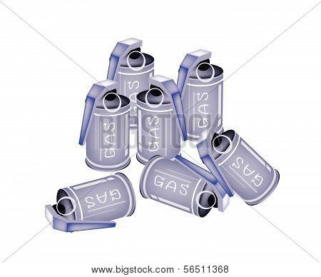 Stack Of Tear Gas Grenades