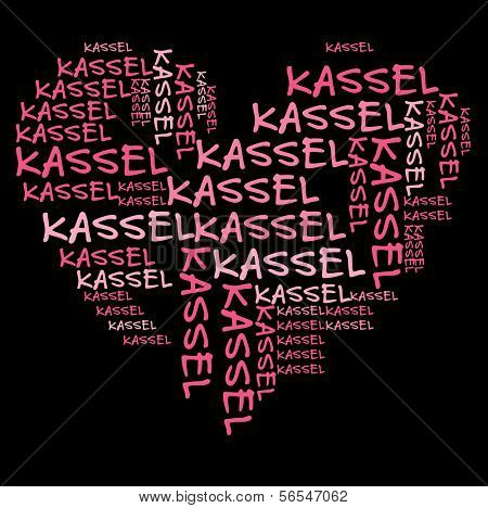 Kassel word cloud in pink letters against black background