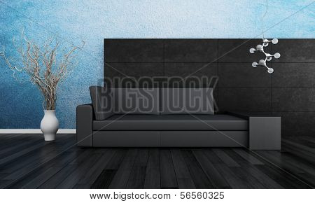 3D rendering of loft apartment interior with minimalist couch and turquise wall
