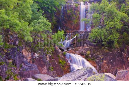 Waterfall In National Park Geres Portugal