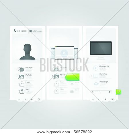 Webste template Ui elements:Personal Vcard portfolio with icons poster