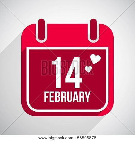 Valentines day flat calendar icon.