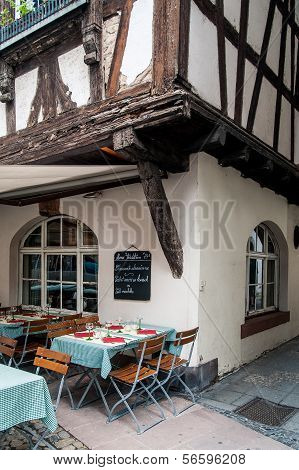 Bistro by a half-timbered house