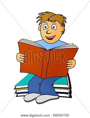 Sitting Boy Reads A Book