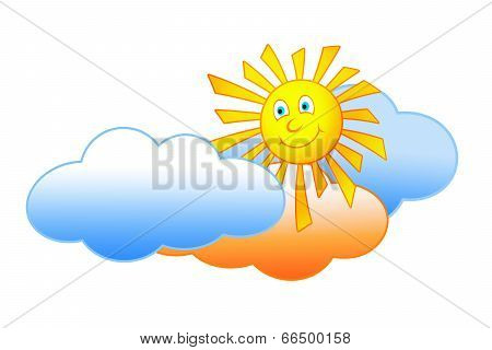 Smiling Sun And Clouds